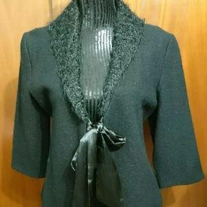 Coldwater creek Black Open Wool Coat Size Medium